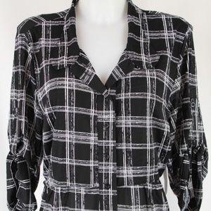 Style & Co Black 3/4 Sleeve Blouse Plus Size 2X
